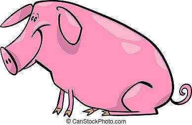 cartoon illustration of farm pig - cartoon illustration of...