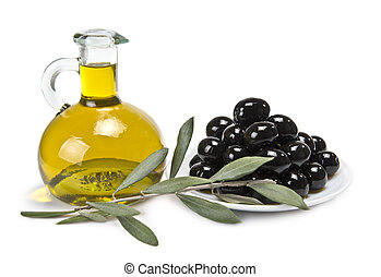 A plate with black olives and oil.