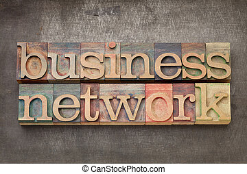 business network in wood type - business network - text in...