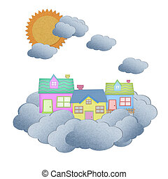 house from recycle paper on a cloud over the sky with sun