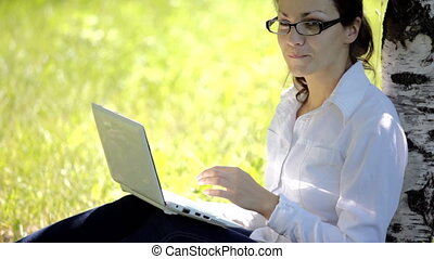 girl working on lap - young pretty girl working on lap