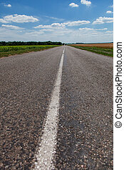 Free asphalt road on steppe - The Road leaves to horizon...