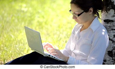 girl working on lap