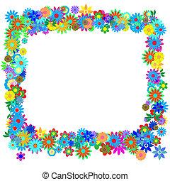 Valentine - Frame formed by hundreds of flowers or floral...