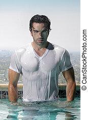 sexy, homme, piscine