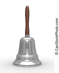hand bell on white background. Isolated 3D image