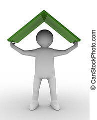 man under roof on white background. Isolated 3D image