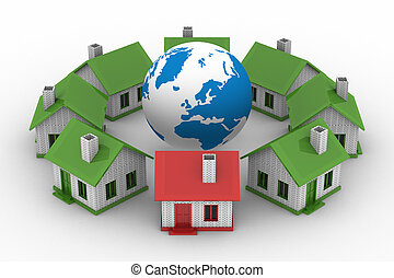 houses standing around globe on white background. Isolated 3D image