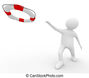 rescuer with lifebuoy ring on white background. Isolated 3D...