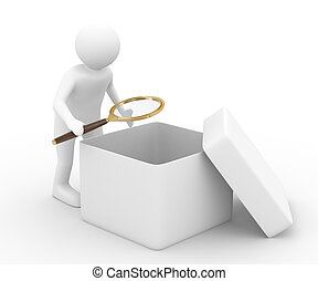 person with magnifier investigates empty box Isolated 3D...
