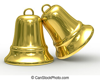 Two gold hand bell on white background Isolated 3D image