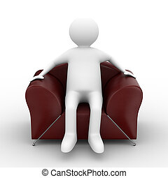 person sitting in armchair. Isolated 3D image