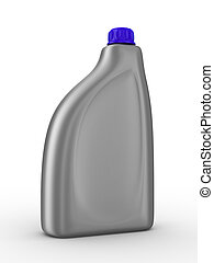 Lubricating oil bottle on white background. Isolated 3D...