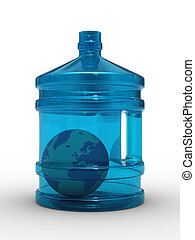 Globe in bottle on white background. Isolated 3D image