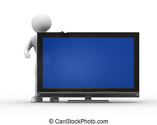 TV and man on white background. Isolated 3D image