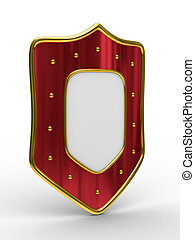 red shield on white background isolated 3D image