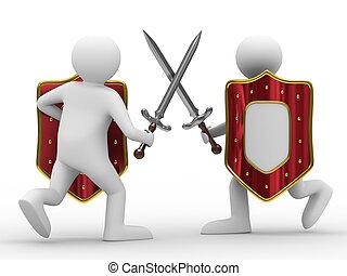 luta, espadas, isolado, 3D, imagem