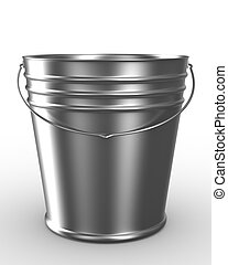 Bucket on white background. Isolated 3D image