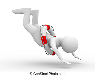 falling man on white background Isolated 3D image