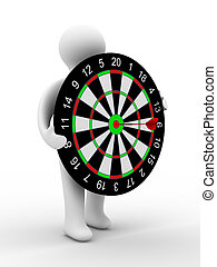Man hold darts on white background. Isolated 3D image