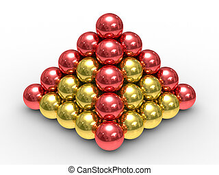 Pyramid from metal spheres on a white background. 3D image