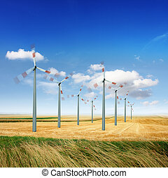 Wind turbines generate energy - Wind turbine generate...