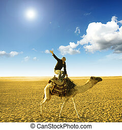 pose on the camel