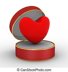 Heart in gift packing. 3D image.