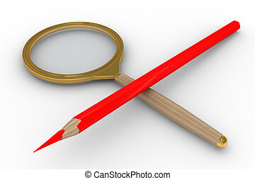 Magnifier and pencil on white background. Isolated 3D image