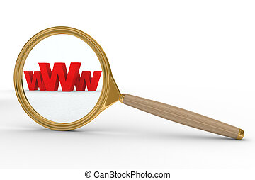 Magnifier and www on white background. Isolated 3D image