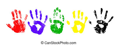 Handprints - many colored handprints on a white background