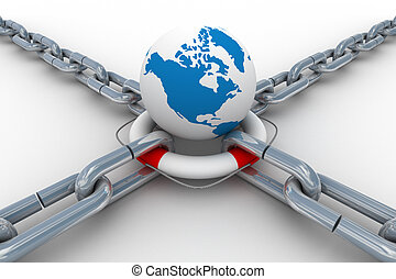 Chain fastened by lifebuoy and globe Isolated 3D image