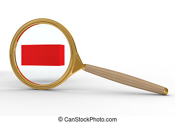 Magnifier and sign minus on white background. Isolated 3D image