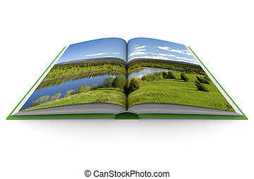 Opening book on white background 3D image