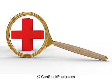 Magnifier and sign plus on white background. Isolated 3D image