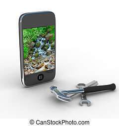 Phone repair. Technical service. Isolated 3D image
