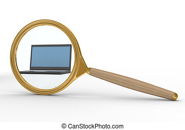 Magnifier and laptop on white background. Isolated 3D image