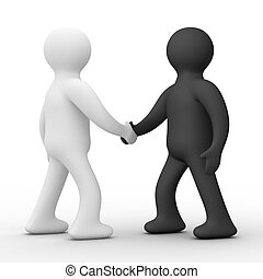 Handshake. Meeting two businessmen. Isolated 3D image.