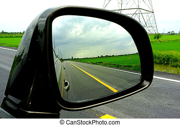 The road in the car mirror