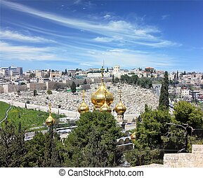 golden domes of Jerusalem - view of Jerusalem from the top...