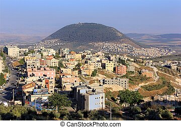 Mount Tabor and the Arab village - view of the biblical...