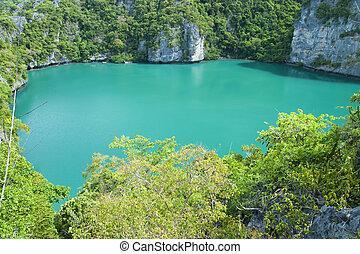 landscape bird eye view of angthong national marine park koh...
