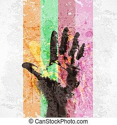 vintage poster, handprint