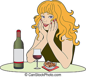 Woman with a glass of wime