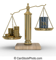 Oil and money for scales. Isolated 3D image. - Oil and money...