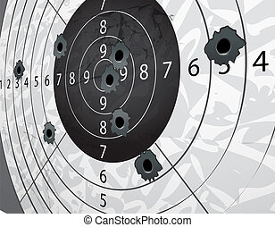 Gun bullet`s holes on paper target in perspective