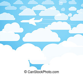 Planes in the cloudly sky
