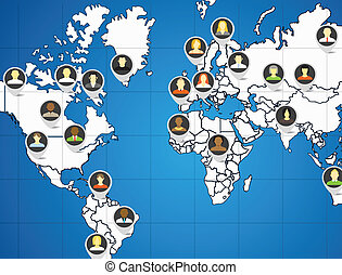 Social network abstract scheme on the Earth map