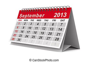 2013 year calendar September Isolated 3D image