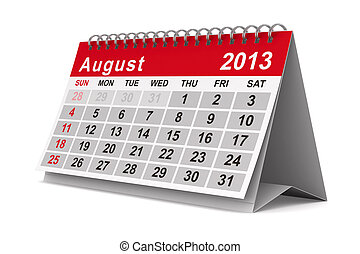 2013 year calendar. August. Isolated 3D image